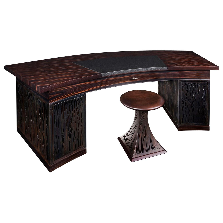 Mixed-Media Crescent Shaped Desk in Macassar Ebony and Blackened Steel