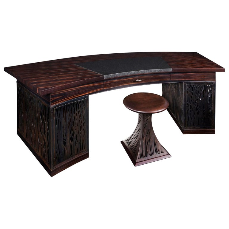 Mixed-Media Crescent Shaped Desk in Macassar Ebony and Blackened Steel For Sale