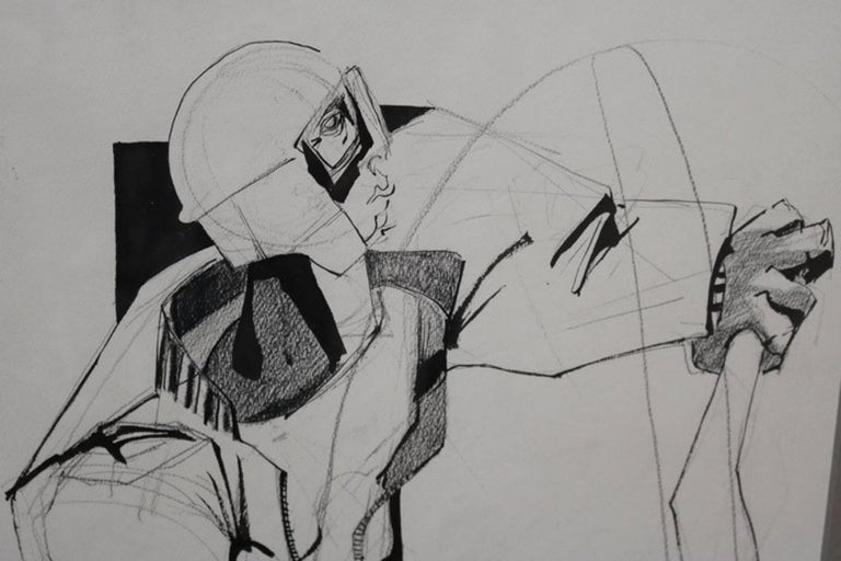 American Mixed-Media Drawing of a Motorcyclist by Walter Peregoy For Sale