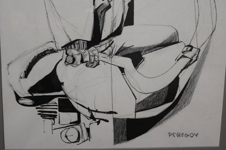 Mixed-Media Drawing of a Motorcyclist by Walter Peregoy In Good Condition For Sale In Pasadena, CA