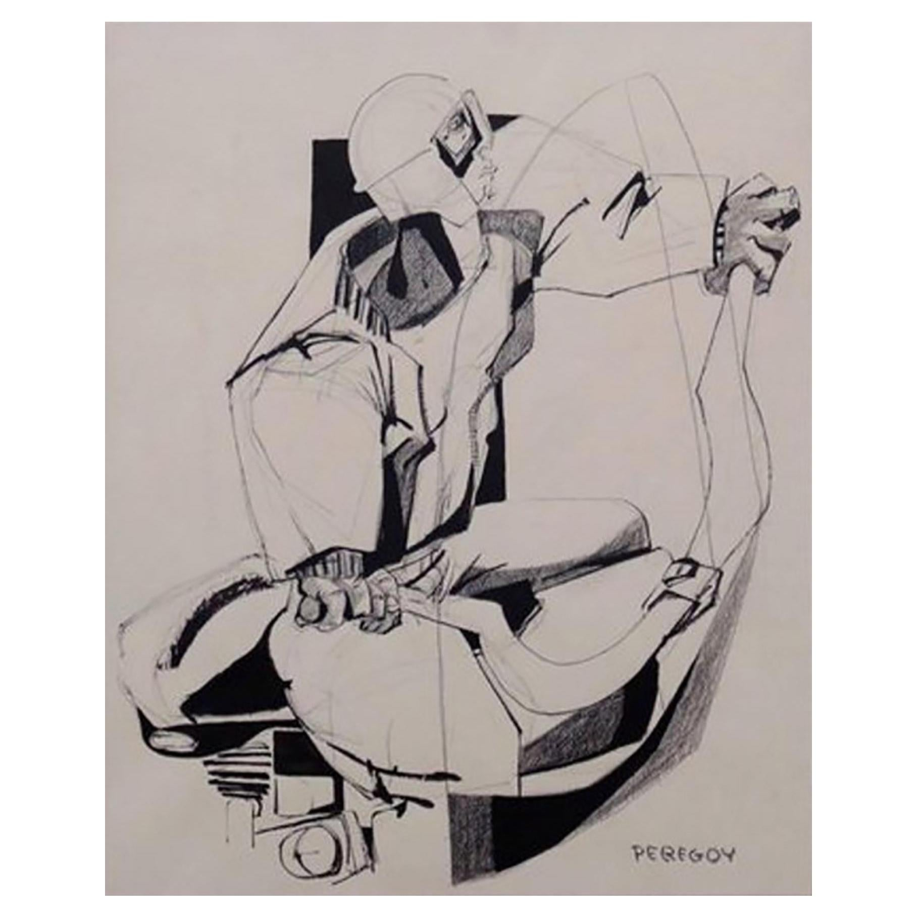 Mixed-Media Drawing of a Motorcyclist by Walter Peregoy