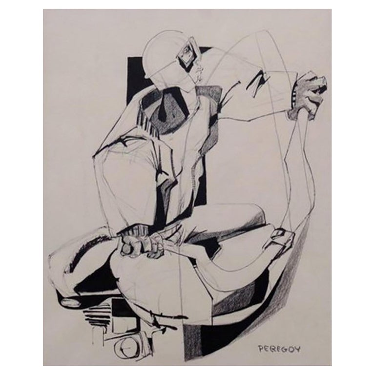Mixed-Media Drawing of a Motorcyclist by Walter Peregoy For Sale