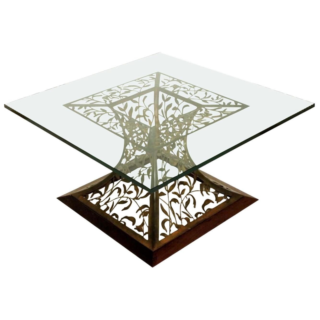 Mixed-Media Filigree Cocktail Table in Blackened Steel and Beveled Edge Glass