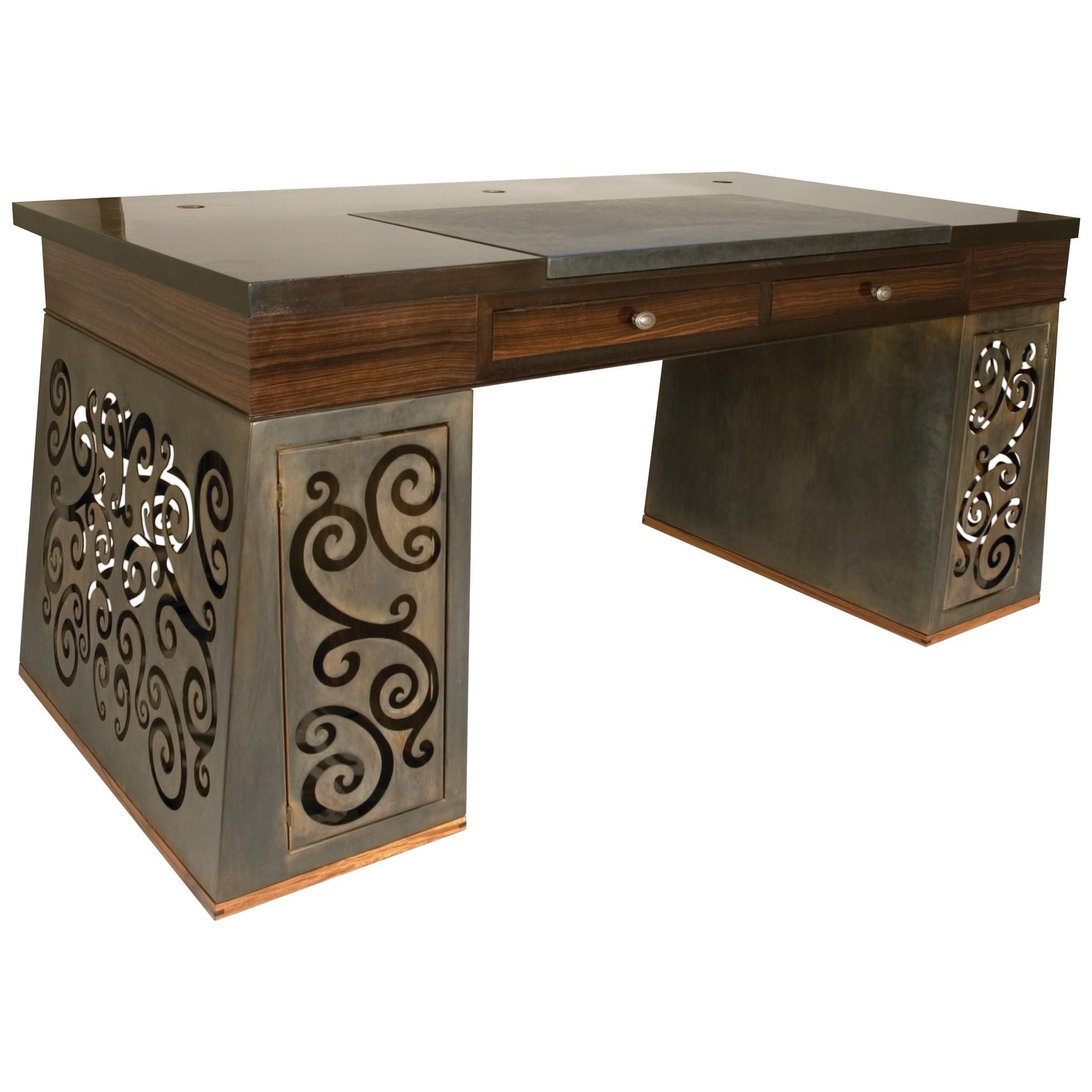 Mixed-Media Scroll-Work Patinated Steel and Macassar Ebony Desk
