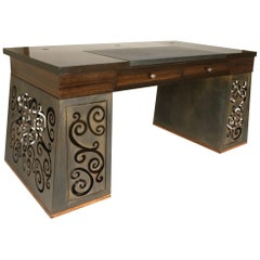 Mixed-Media Scroll-Work Patinated Steel and Macassar Ebony Desk