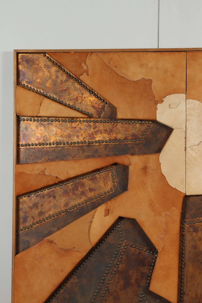 Modern Mixed Media Hammered Copper and Suede Artwork Titled