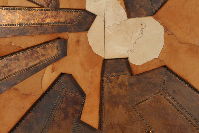 Mixed Media Hammered Copper and Suede Artwork Titled