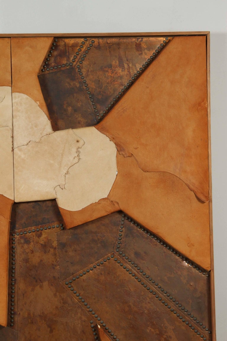 Mid-20th Century Mixed Media Hammered Copper and Suede Artwork Titled