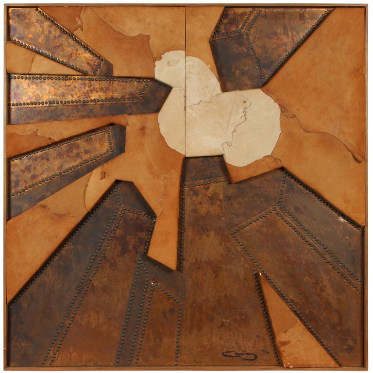 """Mixed Media Hammered Copper and Suede Artwork Titled """"Positively New York"""" For Sale"""