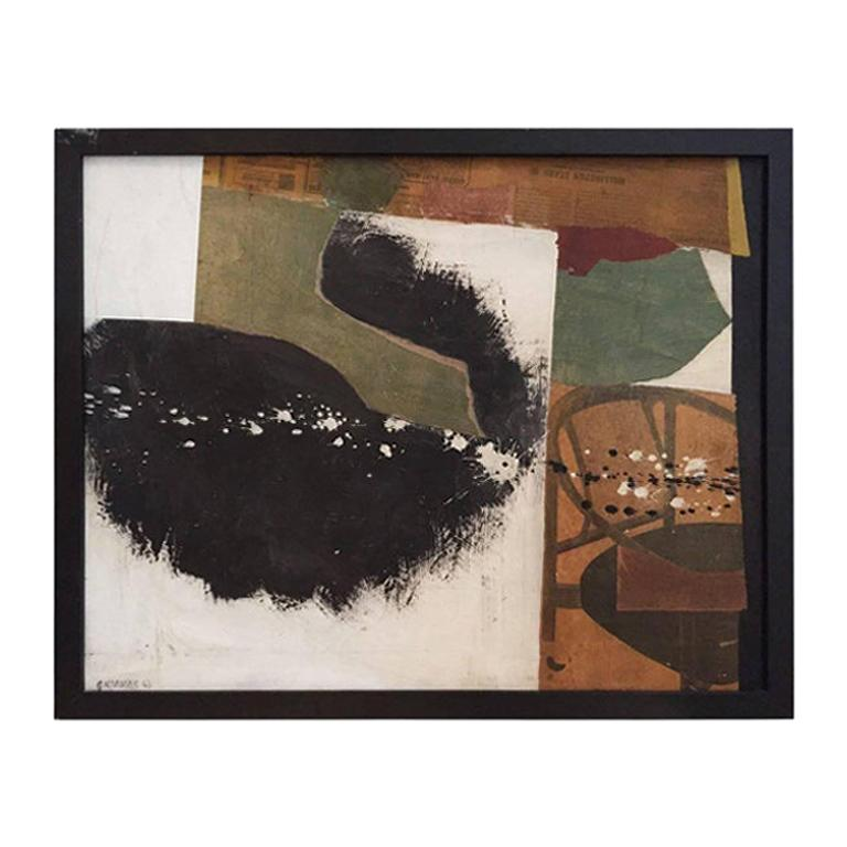 Mixed-Media in White, Green, Black and Brown Tones by George North Morris For Sale