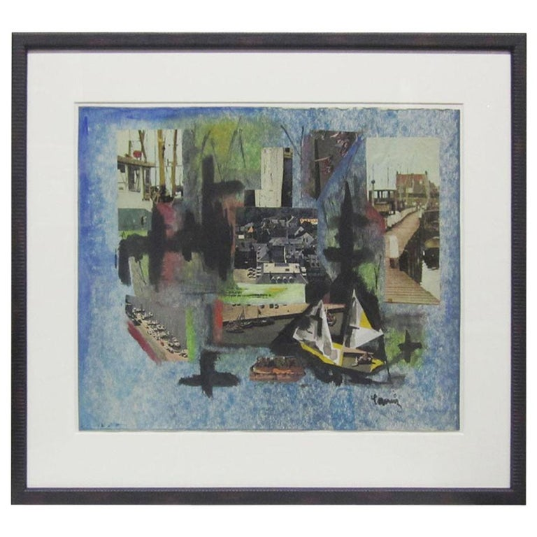 Mixed-Media Nautical Collage by French Artist France Cami For Sale