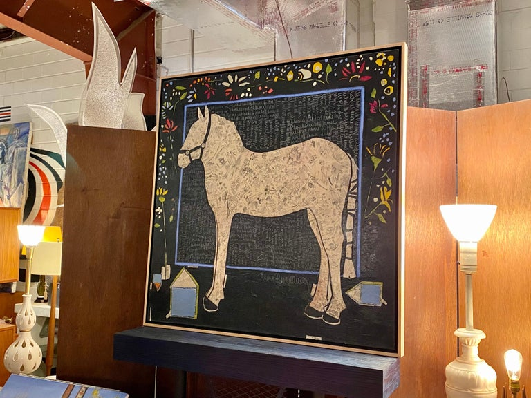 Mixed media painting/collage/poetry on board by Ann Broadway. This large painting is in good condition.