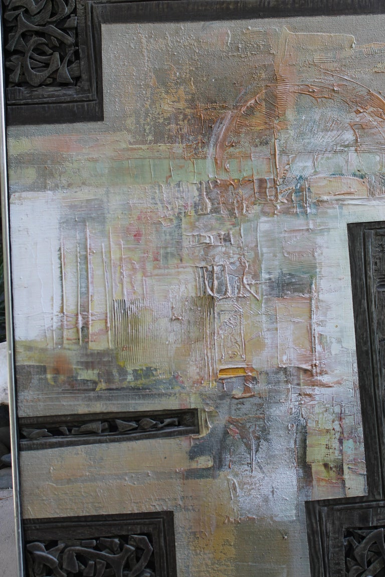 Mixed-media painting by Don Clausen (1930 - ), dated 1971. Painting is on wood. Don Clausen is/was active in California and is known for abstract expression. He uses a palette knife for his oil abstract paintings. In the 1960s and 1970s he also