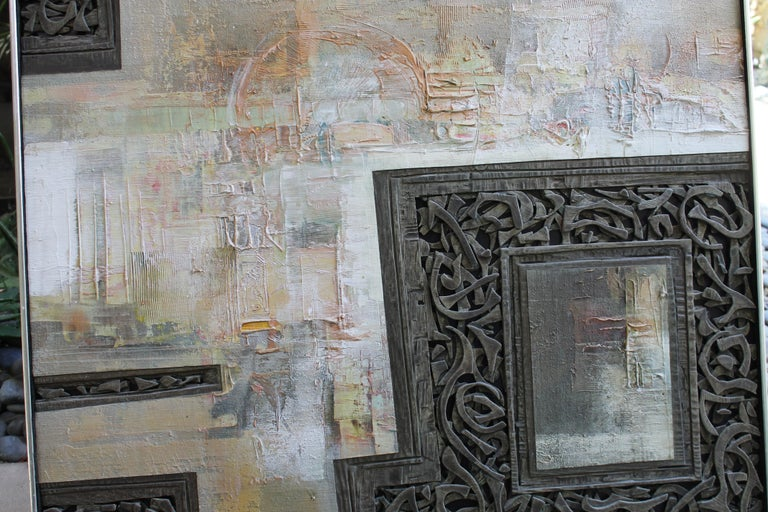 Wood Mixed-Media Painting by Don Clausen For Sale