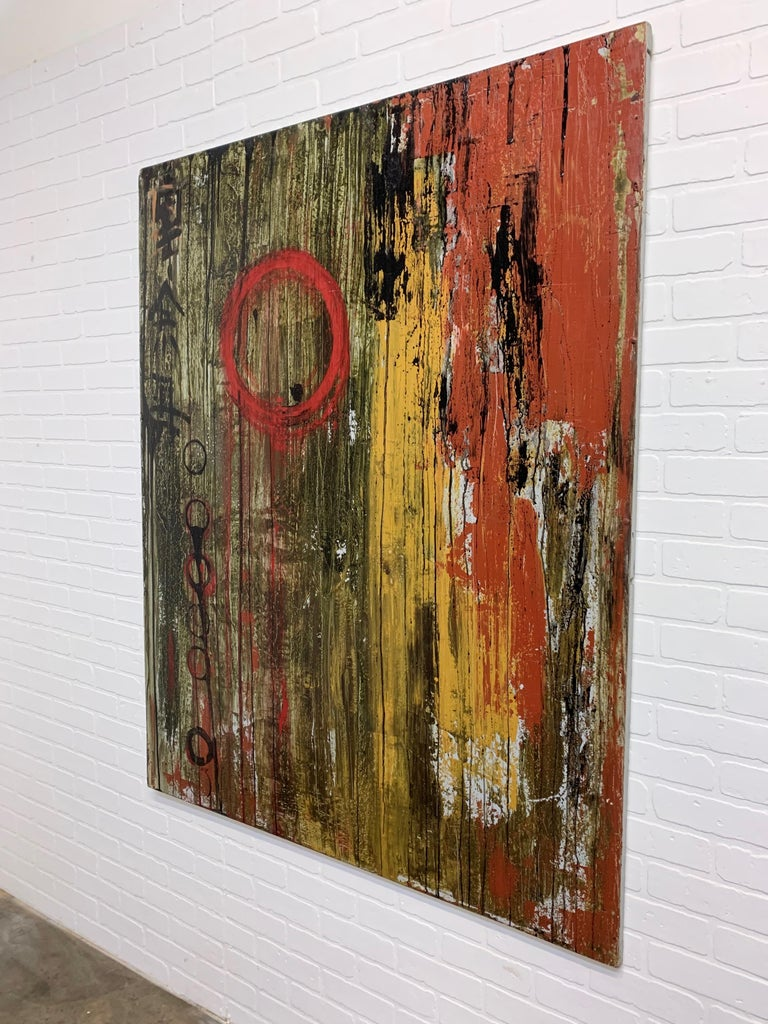 Layers of paper and paint make this artwork stand out on it's own. Unsigned.