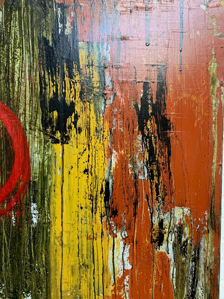 Modern Mixed Media Painting on Board For Sale