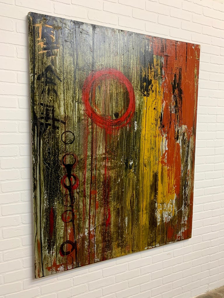 Wood Mixed Media Painting on Board For Sale