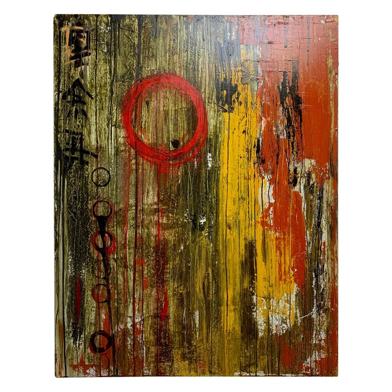 Mixed Media Painting on Board For Sale