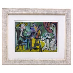 Picasso Style Drawing of an Artist Painting a Nude Model