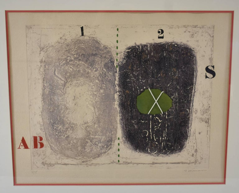 This is a superb original signed and numbered limited edition color carborundum etching with collage and handwork on handmade paper by internationally acclaimed artist James Coignard, (French, 1925-2008). The dimensions with the frame are 30 3/4