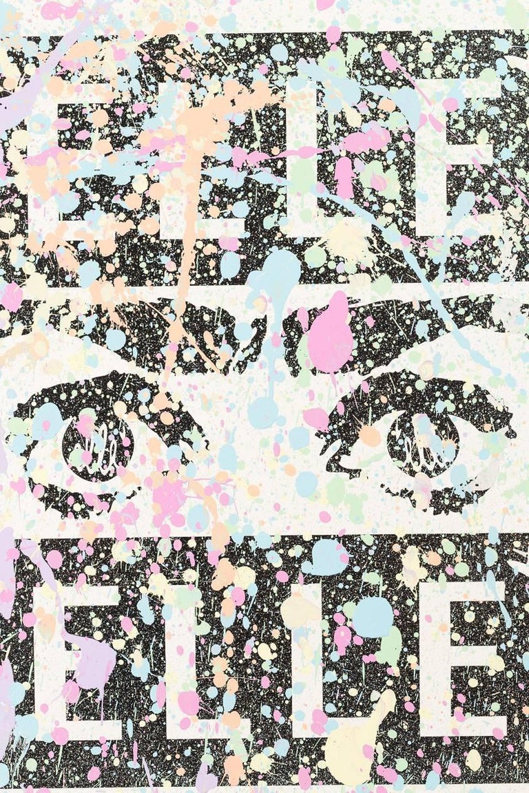 Bohemian Mixed Media Silk Screen by Street Artist Elle For Sale