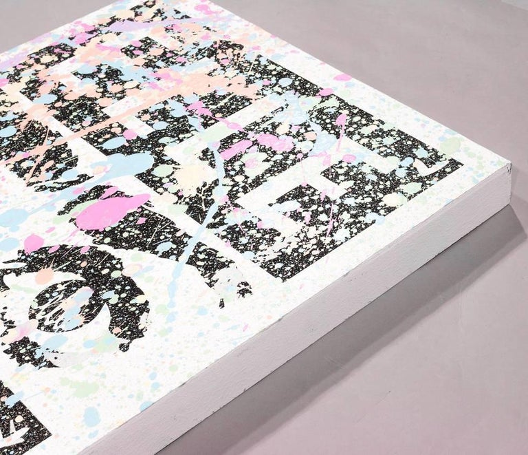 Mixed Media Silk Screen by Street Artist Elle In Excellent Condition For Sale In New York, NY
