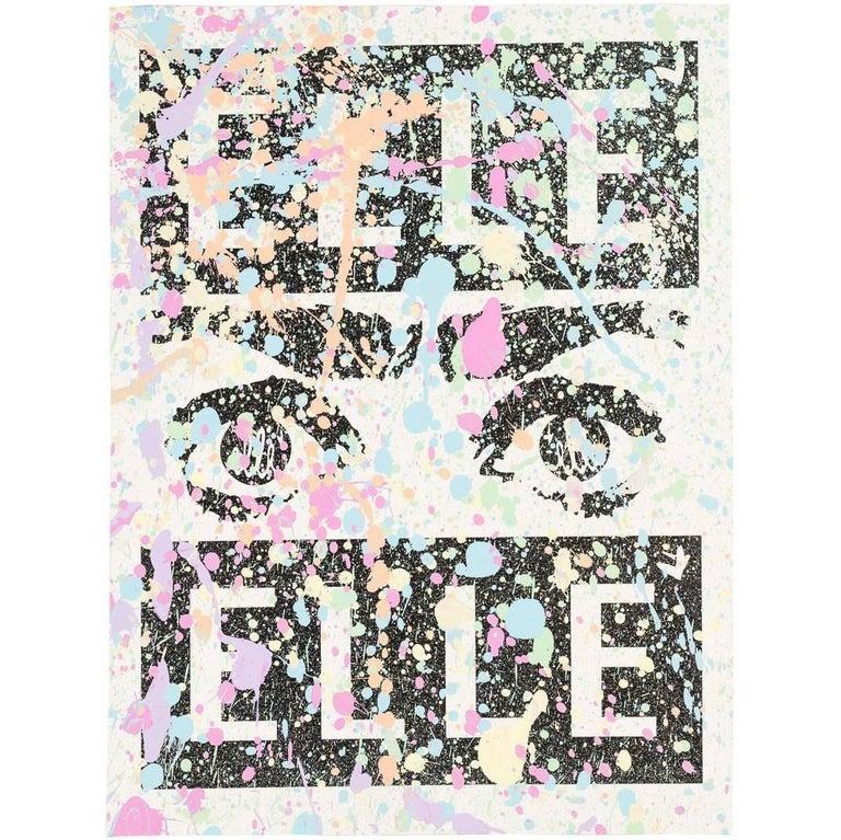 Mixed Media Silk Screen by Street Artist Elle For Sale