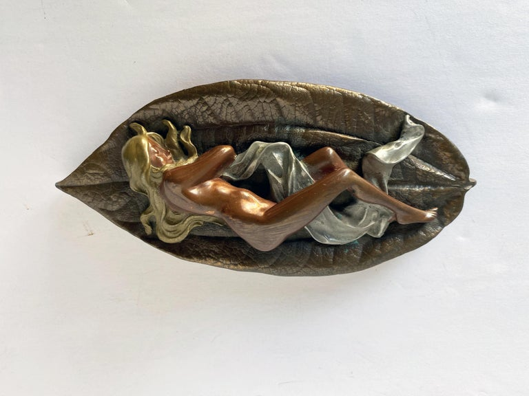 American Mixed Metal Art Deco Nude Female on Leaf Figural Ashtray For Sale