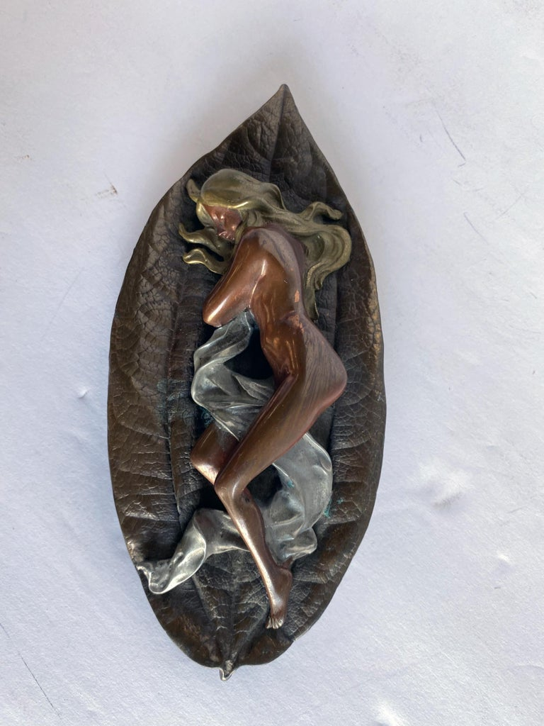 Bronze Mixed Metal Art Deco Nude Female on Leaf Figural Ashtray For Sale