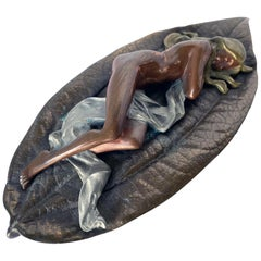 Mixed Metal Art Deco Nude Female on Leaf Figural Ashtray