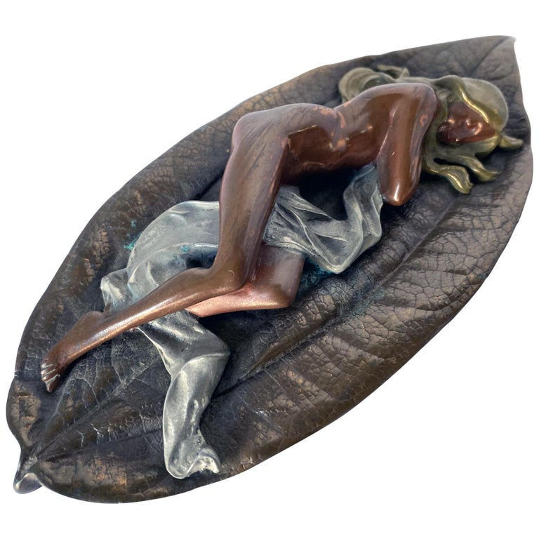 Mixed Metal Art Deco Nude Female on Leaf Figural Ashtray For Sale