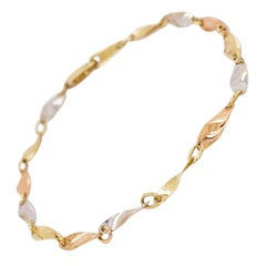 Mixed Metal Bracelet, Tri Gold Bracelet, 14 Karat Rose, White, Yellow Gold