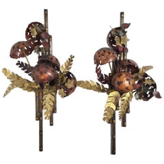 Mixed Metal Brutalist Floral Pair Wall Art