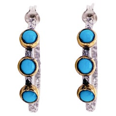 Mixed Metal Hoops with Turquoise Stones and Gold Bezels
