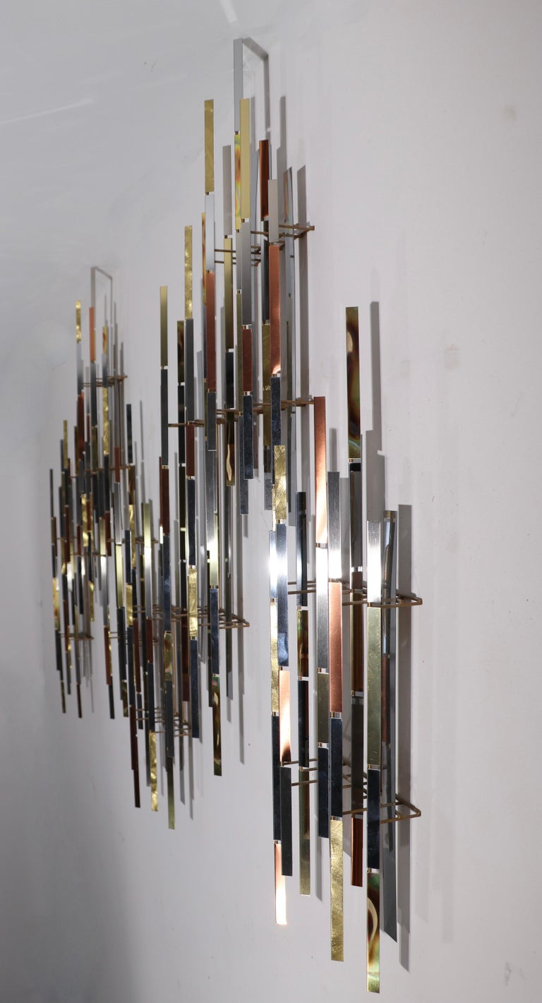 Mixed Metal Modernist Wall Mount Sculpture by R. Berger, 1993 For Sale 5