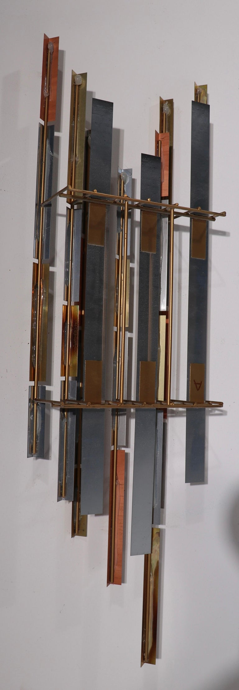 Mixed Metal Modernist Wall Mount Sculpture by R. Berger, 1993 For Sale 6