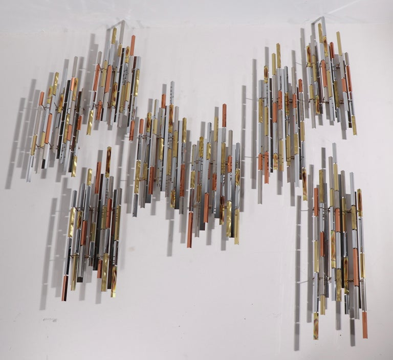 Mixed Metal Modernist Wall Mount Sculpture by R. Berger, 1993 For Sale 9
