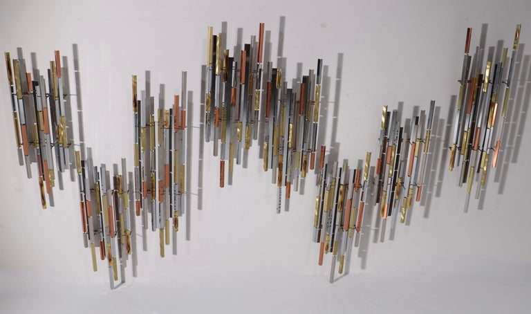 Post-Modern Mixed Metal Modernist Wall Mount Sculpture by R. Berger, 1993 For Sale