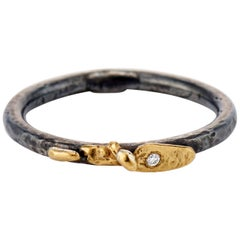 Mixed Metal Oxidized Sterling Silver 22 Karat Yellow Gold and Diamond Band Ring