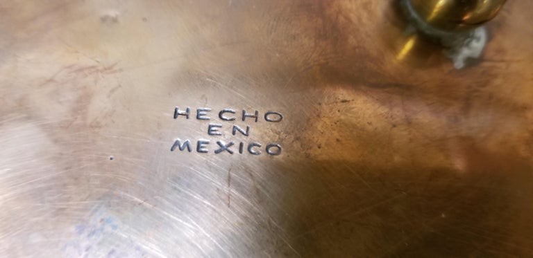 Mid-Century Modern Mixed Metal Plate in the Manner of Los Castillo For Sale