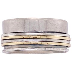 Mixed Metal Ring 14 Karat Gold Sterling Silver Spinner Ring Band, Anxiety Relief