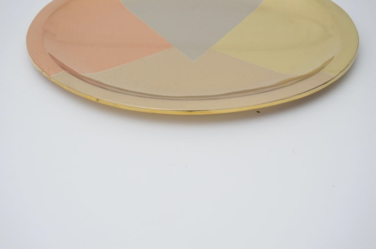 Mid-Century Modern Mixed-Metal Round Tray For Sale