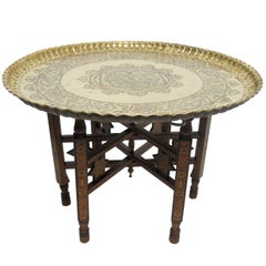 Mixed Metal Tray Table with Inlay Wood Stand, Syrian, Late 19th Century