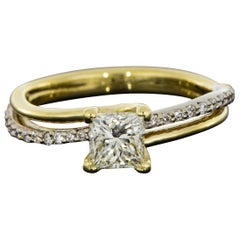 Two Tone Gold 0.68 Carat Princess Diamond Bypass Engagement Ring