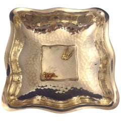 Mixed Metals by Whiting Sterling Bowl Square Applied Bird & Lizard
