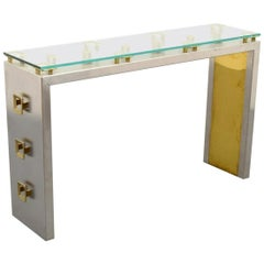 Mixed Metals Console Table by Sandro Petti for L' Angolo Metallart