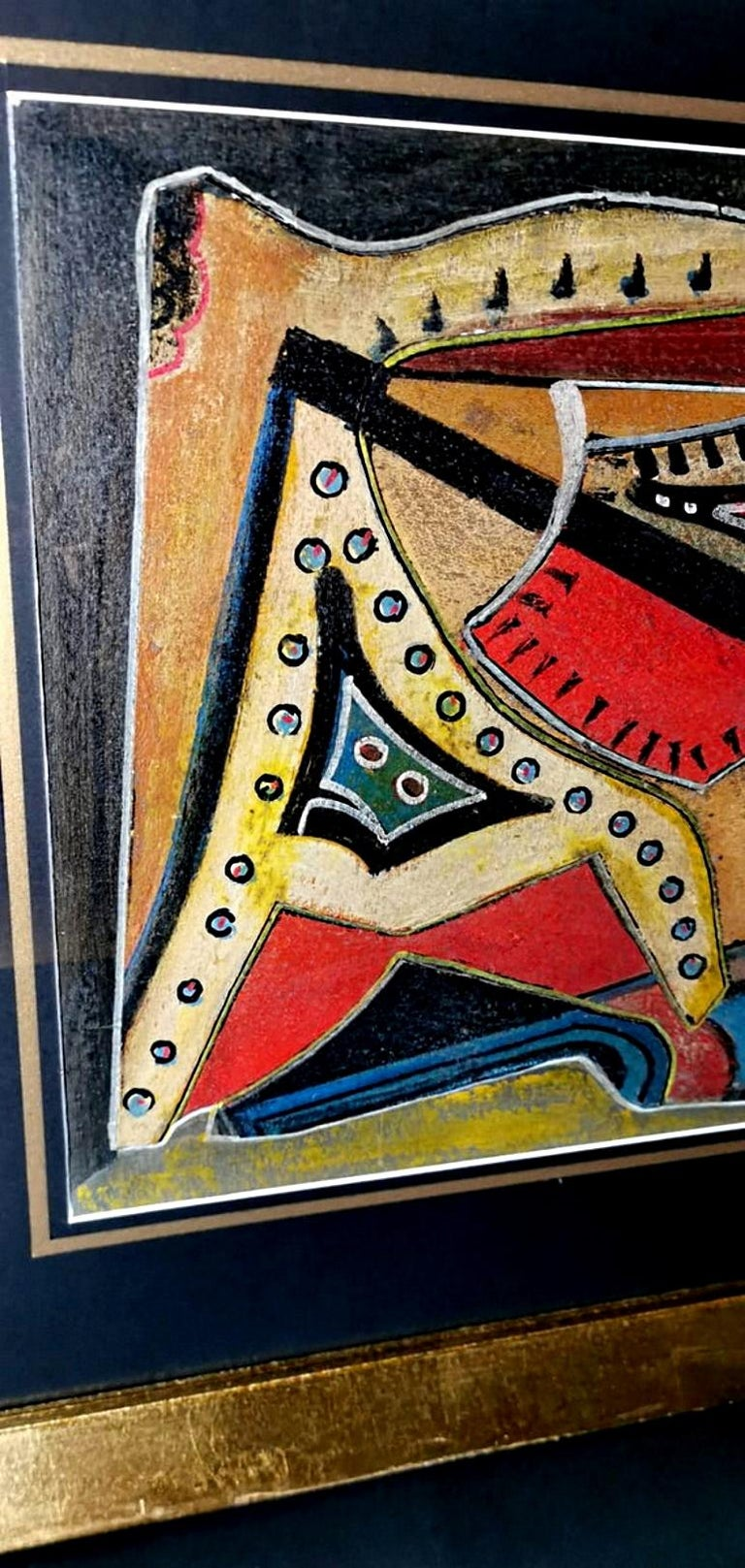Mixed Technique Russian Constructivism Picture on Cardboard, 20th Century For Sale 4
