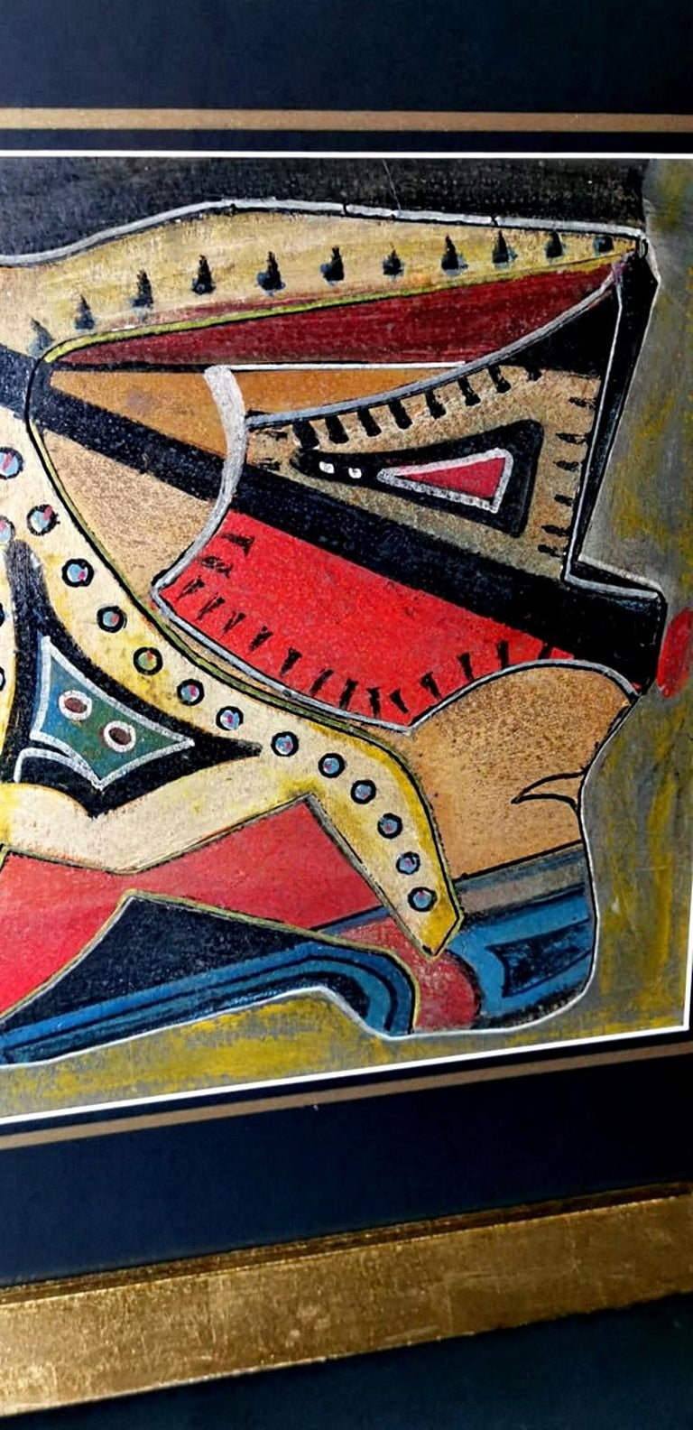 Mixed Technique Russian Constructivism Picture on Cardboard, 20th Century For Sale 5