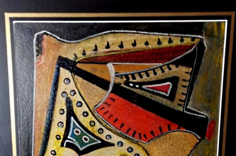 Mixed Technique Russian Constructivism Picture on Cardboard, 20th Century For Sale 7