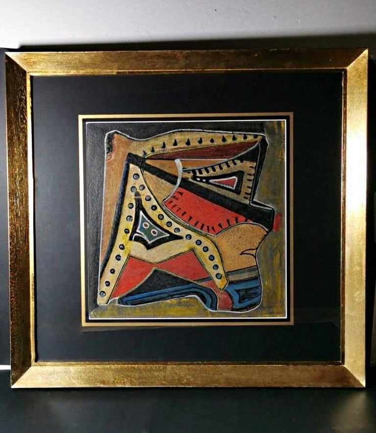 Russian Constructivism painting painted with mixed-media on cardboard, the wooden frame is painted gold, no signature, executed in Russia between 1925 and 1930, Cm. 74 x 70. Internal measure cm.42 x 42. The artistic current of constructivism is a